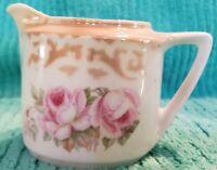 "Vintage ""Three Crown"" Lusterware China Germany Creamer Pink Roses Gold Rim"