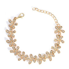 Fashion Women Elegant Flower Rhinestone Cuff Bracelet Chain Bangle Jewelry Gold