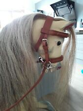 Rocking horse medium handmade tan leather bridle nickel fittings