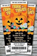 Trick-or-Treat Halloween Birthday Party Invitation TICKET Stub Costume Pumpkin