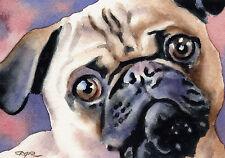 Pug Dog Watercolor 8 x 10 Art Print Signed by Artist Djr