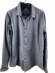 Men's Tarocash Plus Size Grey Checkered Longsleeve Casual Top Size 2XL