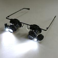 Gafas Lupa Doble Lente Aumento 20X Reparacion Relojero Electronica & Luz LED