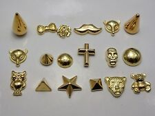 100 Assorted Gold Tone Acrylic Flatback Spike Star Animal Studs No hole Cabochon