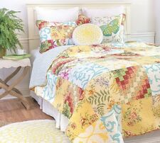 ALESE Full Queen QUILT SET : CHIC VINTAGE COUNTRY GARDEN COTTAGE PATCH FLORAL