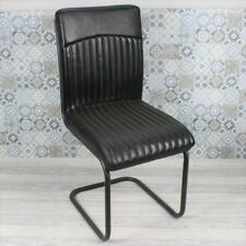 More details for industrial vintage dining chair, black ribbed stitching leather metal restaurant