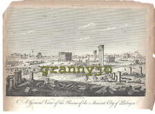 1820 Copperplate  Engraving of Ruins of Ancient City of PALMYRA  by John Pass