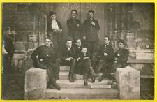 """cpa Carte Photo MILITAIRES """" SAINT CYR ? """" SOLDATS en UNIFORMES Promo 1875"""
