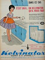 PUBLICITÉ DE PRESSE 1961 RÉFRIGÉRATEUR KELVINATOR - JEAN BELLUS - CHAT