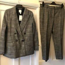 New H&M Grey Check Double Breasted Blazer Jacket & Ankle Length Trouser Suit,12