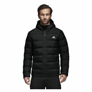 adidas Helionic Mens Down Coat Training Outdoor Sports Jacket Black Football