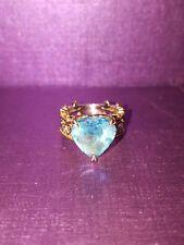 Gems En Vogue Heart Shape Swiss Blue Topaz Crown Ring Size: 5