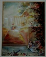 VINTAGE ORIGINAL WATERCOLOR PAINTING OF PEOPLE AND LANDSCAPE