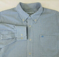 🐟 SOUTHERN TIDE Logo Blue Long Sleeve Button Down Tropical Check Size XL