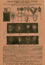 1922 small Print Ad of Electric Scarf Pins Flashlight skull moon auto lamp cat