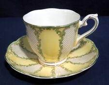 Rare Royal Albert Bone China Rococo Yellow with Green Tea Cup and + Saucer Set