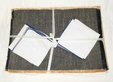 Vintage Set of 4 Navy & Tan Woven Fringed Placemats w/ White Linen Napkins NOS