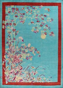 Vegetable Dye Art Deco Chinese Area Rug Hand-knotted Wool Oriental Carpet 9'x12'
