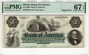 1860 $2 BANK OF AMERICA PROVIDENCE RHODE ISLAND OBSOLETE NOTE PMG SUPERB 67 EPQ