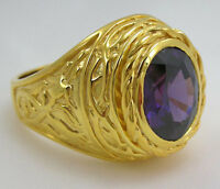 EASTER LILY CHRISTIAN BISHOP 14K YELLOW GOLD STERLING SILVER RING NEW MENS
