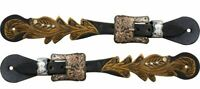Showman Cut Out Tooled Leather Spur Straps w/ Engraved Buckles! NEW HORSE TACK!!