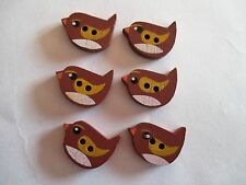 6 x 20mm x 15mm Wooden Flat Bird Shape Button 2 Holes Brown  No.1153