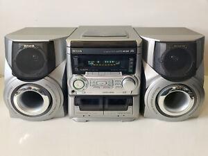 AM/FM/Dual-Cassette/3 CD Changer Compact Combo Stereo Aiwa CX-NA555 w/SPKs & RMT