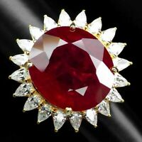 PIGEON BLOOD RED RUBY MAIN STONE 41.80 CT.SAPPHIRE 925 SILVER GOLD RING SZ 5.75