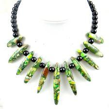 Grass green Sea Sediment Jasper &agate Handmade Gemstone Jewellery Necklace H14
