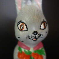 Vintage Painted Chalkware Bunny Rabbit Lady with Carrots Figurine Easter Plaster