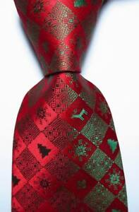 New Classic christmas style Red Green JACQUARD WOVEN 100% Silk Men's Tie Necktie