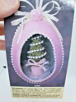 Vintage TOPIARY TREE Easter Egg Pink Pearl Beaded Ornament Craft Kit Flowers