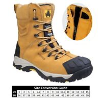 Amblers FS998C Waterproof Side Zip Up Honey Combat Safety Boot |6-14|