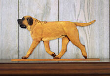 Mastiff Dog Figurine Sign Plaque Display Wall Decoration Apricot