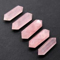 2pcs Natural DT Rose Pink Quartz Crystal Point Wand Reiki Healing Obelisk Tower