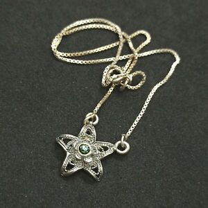 Real Vintage Silver Filigree Star Pendant Necklace 925 Girl/Teen Christmas Gift