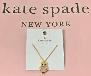 Kate Spade Into The Woods Gold Plated Pearl Owl Mini Pendant Necklace NEW