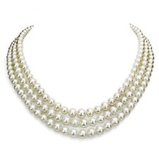 Sterling Silver 7-8mm White Cultured Freshwater High Luster Pearl 3-row Neckl...