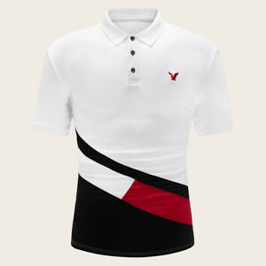 New Men Striped Cotton T Shirt Short Sleeve  eagle Polo Shirt with Embroidered