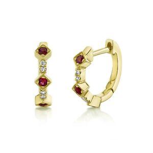 Ruby Diamond Huggies Earrings 14K Yellow Gold Diagonal Hoops Round Cut Natural
