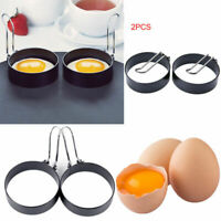 2pcs Nonstick Stainless Steel Shaper Pancakes Molds Ring Handle Round Egg Rings