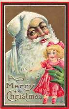 Christmas Greetings Santa Claus White Suit Holding Doll Postcard J60440