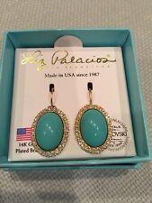 NEW Liz Palacios 14K Gold Plated Brass Turq & Crystal Sparkle Earring Rare!!!