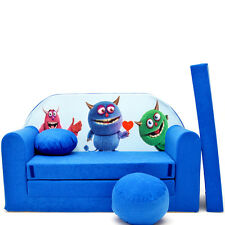 C28 Children Kids Babies mini couch sofa bed pillow 3in1 Set (blue Monster)