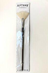 Artway Fan Brush -  Oil Acrylic Paint Hog Hair - Size16 Long handle