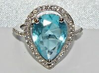 Sterling Silver (925) 5.00ct Aqua Blue Topaz Large Cluster Cocktail Ring size P
