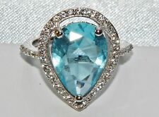 Sterling Silver (925) 5.00ct Aqua Blue Topaz Large Cluster Cocktail Ring size N