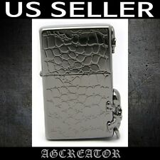 New Japan Korea Zippo lighter ROCK CHIC BK black ice engraved emblem US SELLER