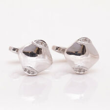 Natural Diamond Cufflinks 925 Solid Sterling Silver Men's Gemstone Jewelry