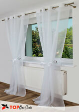 Eyelet Ring Top & Middle  Voile Curtain Panel - Net Voile Curtains Brown Black